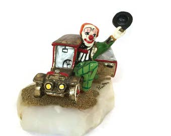 Retired Ron Lee Clown |  Casey Cruising |  Signed Collectible Clown Figurine |  Vintage Home Decor