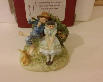 Norman Rockwell Figurine, Seasons Illustration, 'Sweet Song So Young' by Gorham Fine China