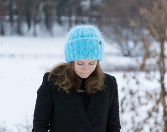 Light teal womens mohair fluffy hat