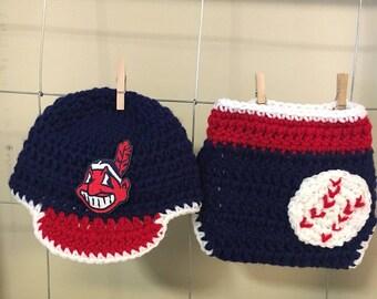 Newborn Cleveland Indians baseball hat and diaper cover, baby Cleveland Indians hat and diaper cover, Cleveland Indians newborn phot prop
