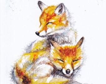 Original Watercolour Foxes Print by Artist Be Coventry Wildlife Animal Art