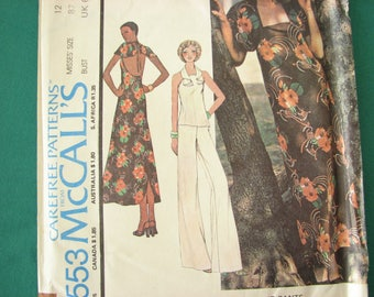 1970s Vintage pattern, McCalls 4553 dress pattern, open back dress or top, size 12 bust 34 - 87 cm
