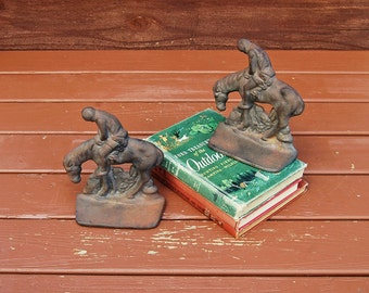 Rider on Horseback Bookends, Cast Iron End of the Trail Bookends, Iron Western Bookends, American Indian Bookends