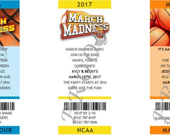 March Madness Photo Ticket Invitations- Authentic & Personalized- QTY 20