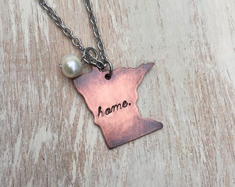 """Minnesota State Necklace Handstamped Copper with stainless steel 20"""" chain and freshwater pearl"""