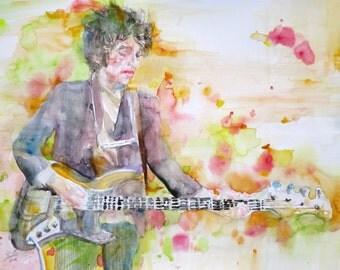 BOB DYLAN - original watercolor portrait - one of a kind!