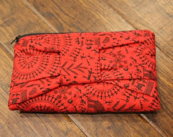 Red & Black Bow Clutch Purse