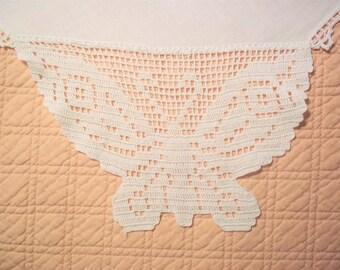 Extra Long White Cotton Table Runner / Dresser Scarf - Crocheted Butterflies
