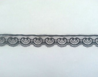 10 Yards of Black Lace Trim/ Black Lace Ribbon 1""