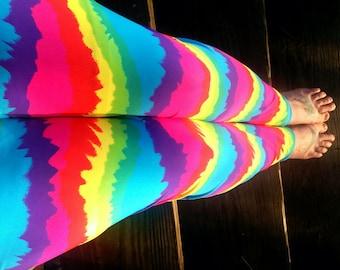 tie dye Rainbow lycra Leggings pants custom size