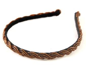 Beaded Headband, Seed and Bugle Beads Headband, braided seed beads headband, Light Brown Brown Color Headband