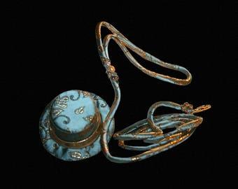 Bleu Ciel, Custom Brocade Dog Leash  in Aqua Blue and Gold (Matches Top Hat), Crystals, Pearls, Brass Leash Hardware