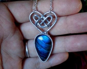 Celtic Heart Knot Necklace - Blue labradorite and silver pendant