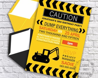 Caution Dump Everything Construction Party Invitation - Instantly Downloadable and Editable File - Personalize at home with Adobe Reader