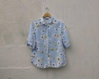 Sky Blue Vintage Floral Shirt