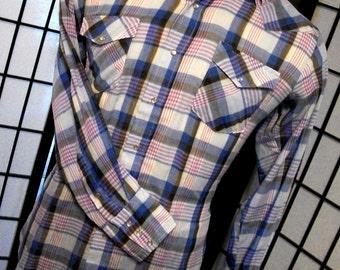 Vintage men's plaid western pearl snap thin long sleeve shirt