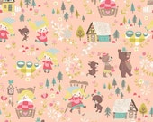 "Classic ""Goldilocks"" & the Three Bears 100% Cotton Riley Blake Designs Yardage C-5710 Coral ***Choose Your Cut of Fabric"
