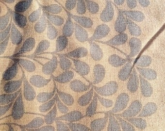 Almedahls fabric 250cm x 170cm vintage Scandinavian brown with brown leaves
