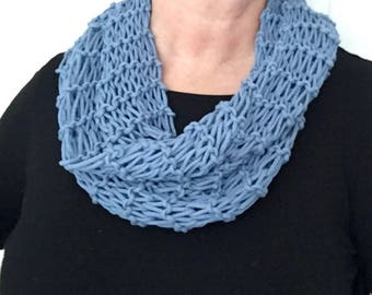 Hand-Knit Loosely Woven Cotton Blend Circular Infinity Woman's Scarf in French Blue