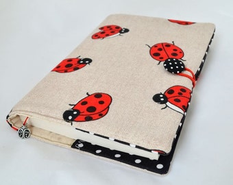 Fabric book cover Ladybugs book cover Ladybird book cover Book protector A5 Notebook cover Bible cover Journal cover Paperback book cover