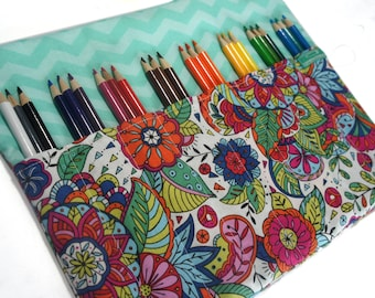 Gift for Mom, Designer Pencil Case, Colored Pencil Case, Adult Coloring