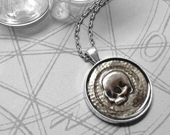 Skull and Snake : hand embossed repoussé metal pendant necklace