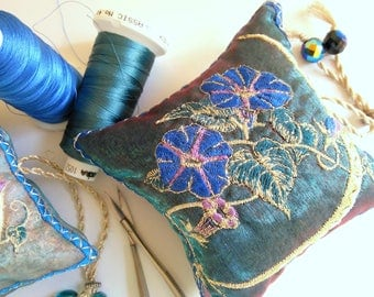 Embroidered, Blue, MORNING GLORY, Lavender pouch, Flowers, gift, for Hostess, Birthday, Summer, Moon