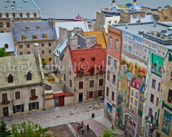 Vieux Québec Photo Old Town Quebec City Photo Cobble Stone Streets Colourful Roofs Old World Charm Home Decor Travel Photography