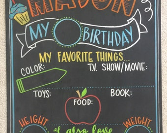 Yearly changeable Birthday milestone chalkboard