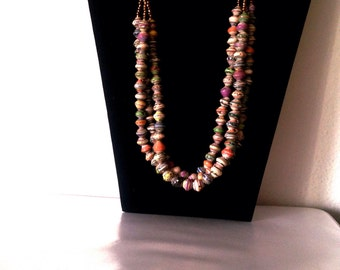 Medium size Paper beads Necklace #418. Single strand. Handmade with love.#perfectgift,  #paperbeadjewelryrocks #waterproof