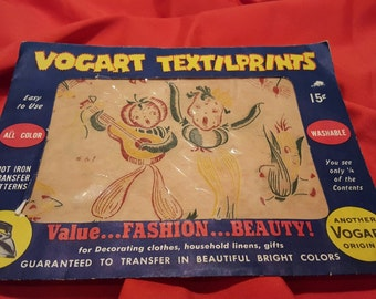 Really sweet, vintage 40's, kitchen towel or apron, iron on transfers with living vegetables!