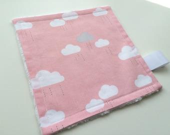 Baby comforter, Baby lovey, Minky comforter, Minky lovey, Clouds comforter, Cloud lovey, Baby girl gift, Baby girl lovey, Pink baby lovey