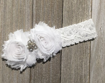White lace Headband, Infant Headband, Spring Headband