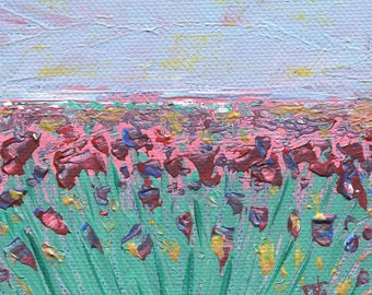 "Field of Tulips, Landscape, 4""x4"" Stretched Canvas Block, Acrylic Painting, Original Artwork"