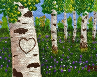 Originals Heart Painting, Flower Field, Aspens,  FREE your initials in the heart, Original Painting, Spring Painting,Art Gift Idea 2.5x3.5in