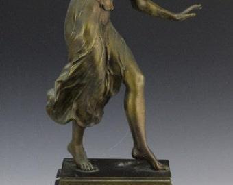 Art Nouveau semi nude lady dancer bronze sculpture GEORGES MORIN circa 1900