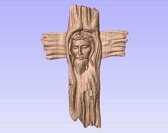Jesus, face in driftwood cross