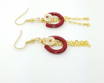 Wire coil red and yellow earrings, red gold earrings, wire coil jewelry, red earrings, wire coil earrings, wire wrapping earrings
