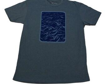 WIND CHOP - Indigo T-shirt - Mens - water-based ink - Wood Cut - Fine Art - by uroko - limited