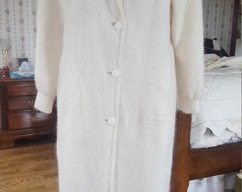 HANDMADE Mohair / Wool Full Length Satin-Lined Cape Coat