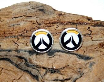 Overwatch logo earrings jewelry, handmade glass cabochon overwatch, Men's jewelry, video game overwatch, Overwatch patch Fan Art simbol