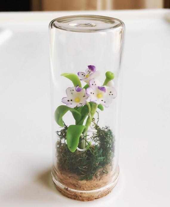 Miniature Flower,Miniature Flower in Glass Bottle,Miniature Orchid,Dollhouse Flower,Miniature Garden,Dollhouse Orchid,Orchid Flower,Glass