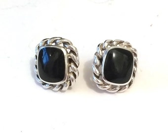 Vintage 925 Sterling Silver Black Lucite Post Earrings, Black Cabochon Silver Pierced Earrings,  Sterling Rope Twisted Earrings