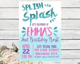 Splash Party: Personalized birthday party invitation Watercolor design- ***Digital File*** (Splish-17pnk)