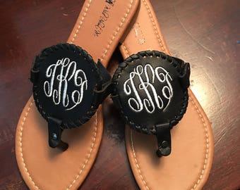 Monogrammed Disc Sandals