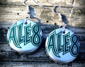 Bottle Cap Earrings, Ale-8-one Earrings-Handmade Bottlecap Earrings- Hillbilly Gifts- Recycled Earrings -Repurposed Jewelry- Kentucky Gifts