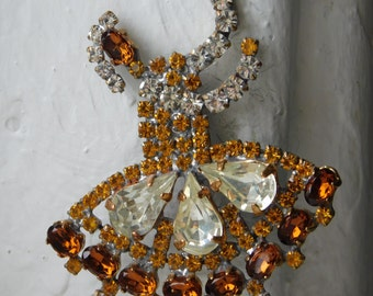 Unique Vintage czech Rhinestone button | Ballerina | Brooch size | Gold~Golden Amber~Clear~