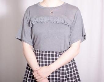 Lucy Tee / ruffle tee / linen knit t-shirt / romantic tee / casual top / Linen blouse / charcoal t-shirt / Casual blouse / Casual Shirt