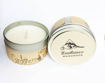 gardeners herbal scented candle / basil soy candle / natural gardeners soy candle / candle gift  rustic gardener/ natural garden gift maine