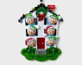 SHIPS FREE - 6 People at Home Personalized Ornament - New House - Personalized Family Ornament